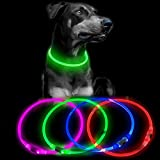Clan-X Led Dog Collar - Light Up Dog Collars USB Rechargeable , Waterproof TPU Glowing Pet Necklace, Reflective Basic Dog Collar, Flashing Camping Lights for Small Medium Large Dogs (Green)