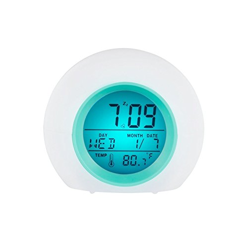 Child Digital Alarm Thermometer Clock Night Glowing 7 Colors LED Change for Bedroom