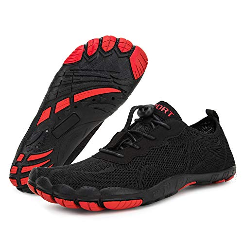 Mens Water Shoes Quick Dry Beach Swim Shoes Barefoot Pool Aqua Socks Shoes for Surf Diving Outdoor Hiking Walking Water Sport (Black 1918, 45)