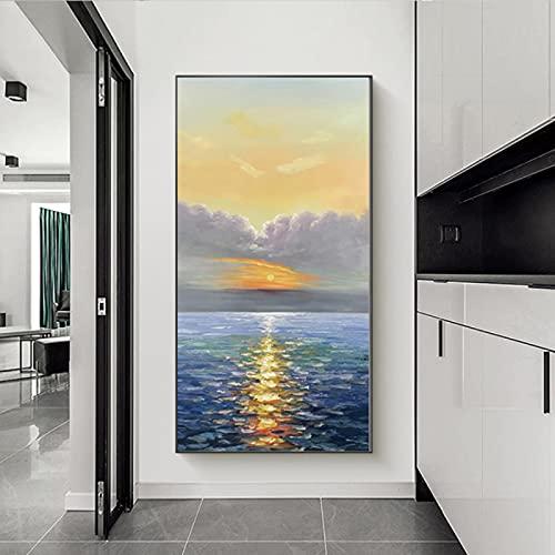 Geel en Grijs Grote Abstracte Muur Art Groot Canvas voor Woonkamer Hal, Zonsopgang Blauwe Zee Badkamer Foto's Muur Decor…