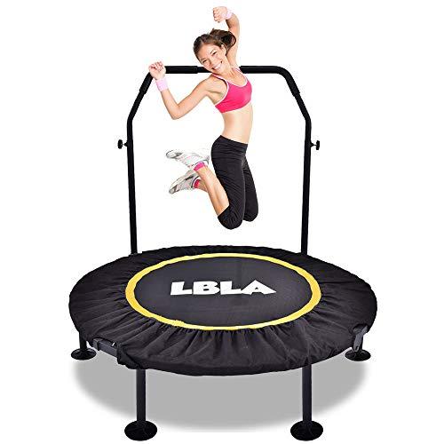 LBLA Trampolín Fitness para Adultos, Trampolin Cama Elastica Plegable con Asa Ajustable y Almohadilla de Salto Extensible, Apto para Interior / Exterior, Capacidad de Carga 100 kg, Amarillo