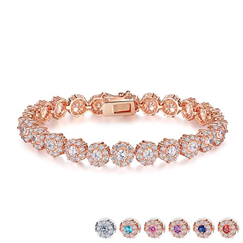 BAMOER Classic Rose Gold Plated Bracelet with Sparkling White Cubic Zirconia for Women Christmas Gift 6.7 Inches