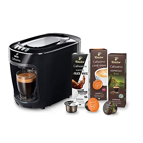 Tchibo Cafissimo mini Kapselmaschine (für Kaffee, Espresso, Caffé Crema und Tee) (inkl. 30 Kapseln,) (schwarz)