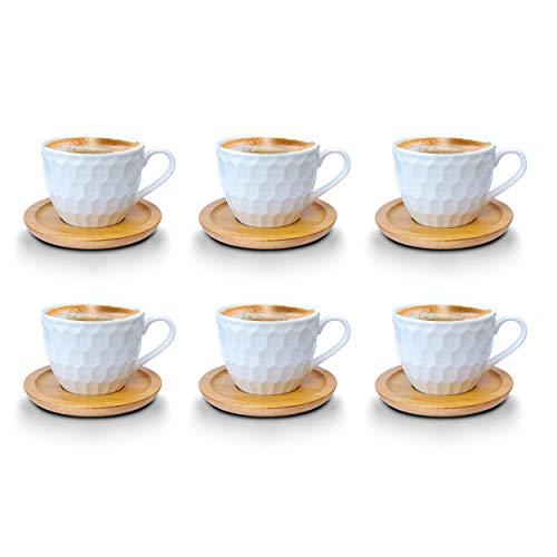 Kaffeetassen Espressotassen Cappuccinotassen mit untersetzer Bambus untersetzer Porzellan 6 Tassen + 6 Untersetzer Weisse Kaffeetassen Set (Espressotassen 100 ml, Model 2)