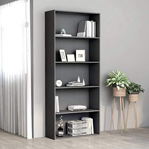 SKM Libreria a 5 Ripiani Grigia 80x30x189 cm in Truciolato