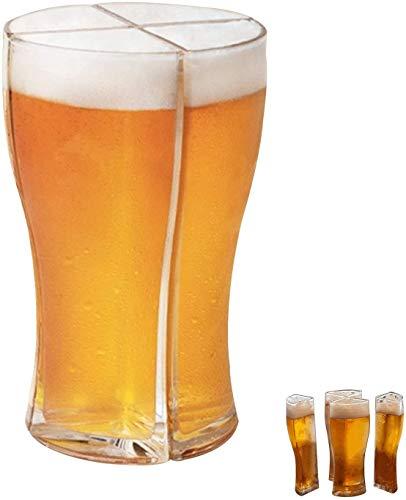 Bicchieri da birra, per farti trasportare facilmente 4 bicchieri di birra in una volta, Creativi divertenti bicchieri di birra in vetro Set di bicchieri di birra Boccale di birra