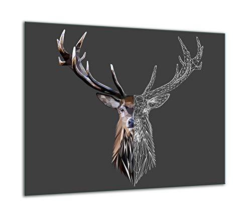TMK | Herdabdeckplatte 60x52 Einteilig Glas Elektroherd Induktion Herdschutz Spritzschutz Glasplatte Deko Schneidebrett schwarz Hirsch