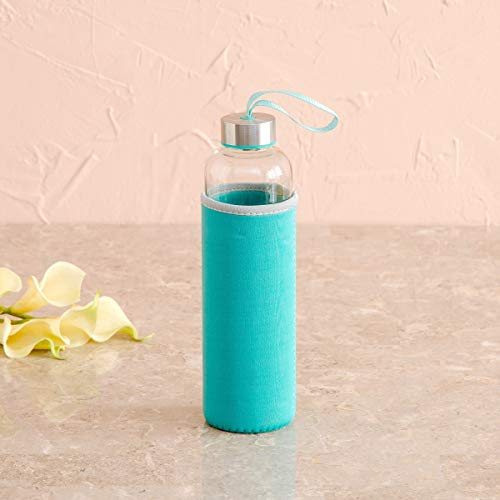 Home Centre Favola-Cyprus Water Bottle with Pouch - 600 ml - Blue