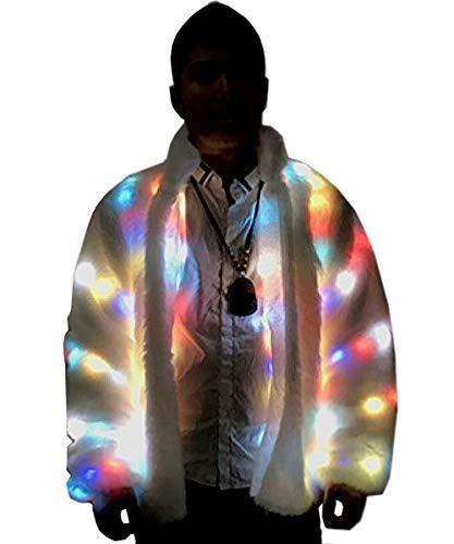 NIWOTA Herren Kunstpelz LED Jacke Light UP Rave Wintermantel Festival Kostüm Xmas Birthday Party Kostüm (6XL=US Size 3XL/4XL, White)