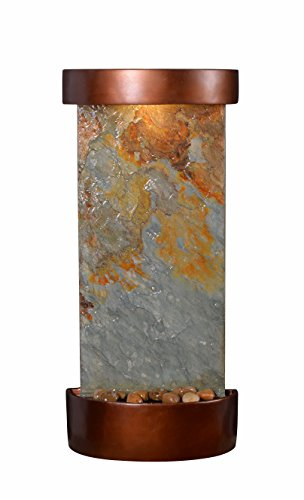 Kenroy Home 51027SLCOP Riverbed Wall/Table Fountain with Light, 26' H, Natural Green Slate/Copper Finish