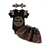 Infant Baby Girls Skirt Set Ruffle Short Sleeve Cheetah Romper Tulle Skirts Outfits Summer Clothes (Leopard, 3-6 Months)