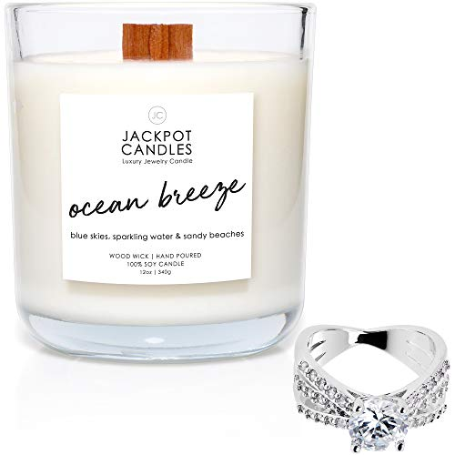 Jackpot Candles Ocean Breeze Candle with Ring Inside (Surprise Jewelry Valued at $15 to $5,000) Ring Size 5
