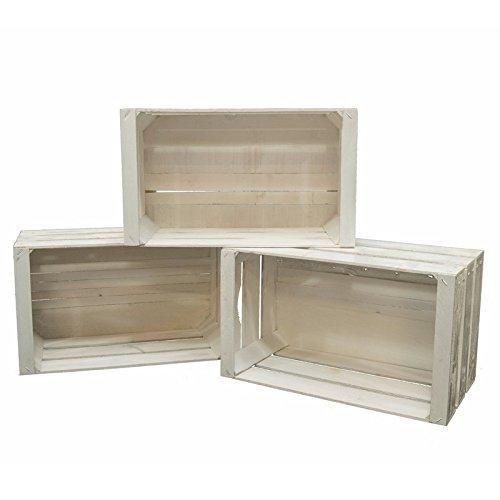 Set 3 Cassette Legno Frutta Nuove Resistenti Colore Bianco per scaffali e librerie 50x30x28