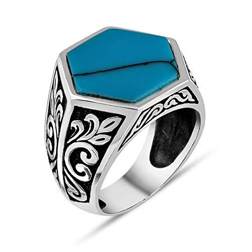 Solid 925 Sterling Silver Symmetric Design Men Ring Flower Motif Ring Handmade Turkish Jewelry Made in Turkey (Q 3/4)