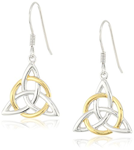 18k Yellow Gold Plated Sterling Silver Two Tone Celtic Triquetra Trinity Knot Triangle Drop Earrings