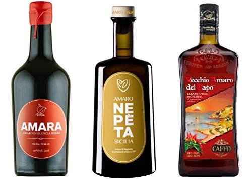 Sicilia Bedda - Tris Amari Aromatici - AMARO NEPETA 500 ML/VECCHIO AMARO DEL CAPO AL PEPERONCINO 700ML / AMARA AMARO DI ARANCIA ROSSA 500 ML - IDEA REGALO