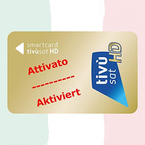 TiVuSat HD Gold Karte aktiviert, für den Empfang von italienische HD/ 4K Kanäle über Satellit Eutelsat HotBird 13,0° Ost in einem TV oder Sat Receiver mit CI+