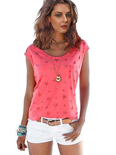 Fleasee Damen T-Shirt Kurzarm Bluse Locker Ärmelloses Top Lässig Sommer Tee mit Allover-Sternen Druck