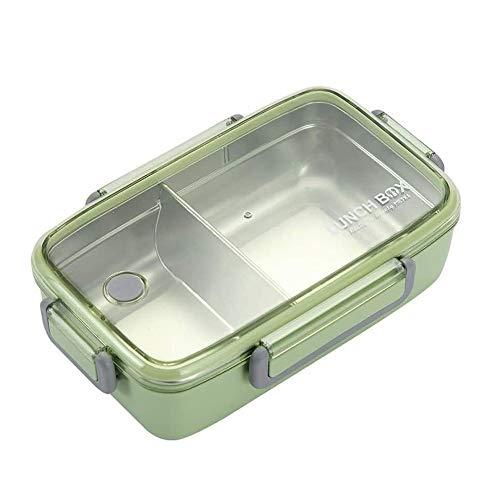 Qxinjinxfhe 2 Compartimiento Bento Box Lunch, con aislamiento de acero inoxidable Plaza de almacenamiento de alimentos de contenedores, fibra de bambú 304 de acero inoxidable caja de almuerzo del aisl
