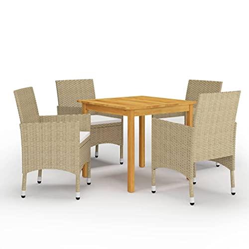 vidaXL Juego de Comedor de Jardín de 5 Piezas Muebles Terraza Mobiliario Exterior Hogar Cocina Mesa Silla Asiento Suave con Respaldo Beige