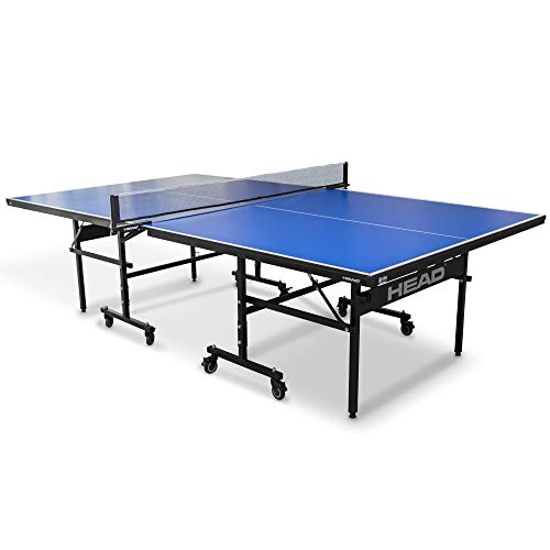 Head Grand Slam Indoor Table Tennis Table, 15mm Surface, Easy-Fold, Portable Steel Frame with Ball Retriever, Blue