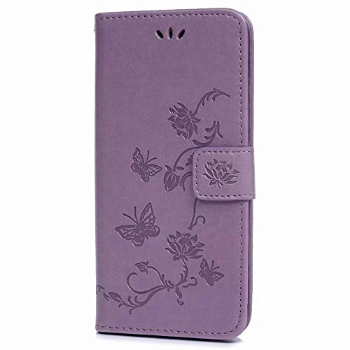 Nokia 1.4 Case,ShockProof PU Leather Flip Case Notebook Wallet Case Embossed Lotus with Soft TPU Inner Kickstand Card Holder Slots Protective Skin,Light Purple