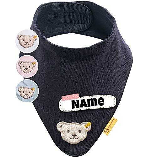 Steiff Halstuch Baby personalisiert | individuell bestickt mit Namen | 100% Baumwolle | 4 Farben verfügbar (Navy)