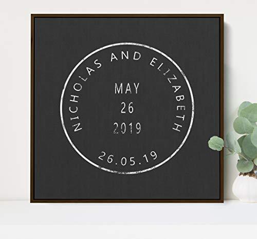 Ced454sy gepersonaliseerd vintage stempel teken met paren eerste namen en huwelijksdatum verjaardag of bruids douche cadeau
