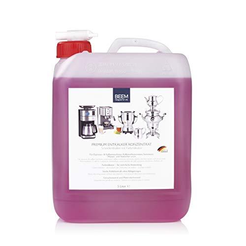 BEEM ENTKALKER KONZENTRAT - 5 L | Mit Farbindikator-mehrfache Anwendung | Für Kaffeemaschinen,Samoware | Materialschonend |Ausgießer | Made in Germany