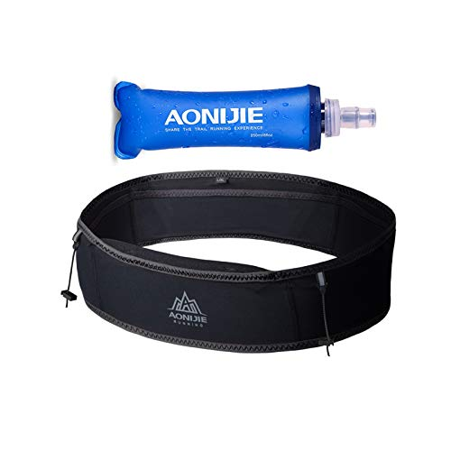 AONIJIE Hydration Belt Running Fanny Pack, with 250ml Soft Water Bottle Flask Phone Holder for Trailing Running Climbing Jogging Cycling Workout Fitness 3 Colors (Black, M/L)