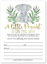 25 Greenery Elephant Virtual Baby Shower Invitations, Rustic Co-ed Boy Girl or Twin Invite Card, Use for the Couples Online Gender Reveal or Sprinkle Party, Floral Safari Theme, Fill In & Send By Mail