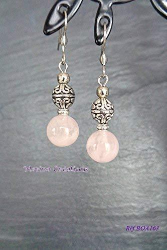 Pendientes ganchos de acero inoxidable, cuarzo rosa real, idea de regalo