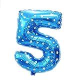 1pc 16 pulgadas Número 5 globos de papel de aluminio bandera del cumpleaños de la fiesta de cumpleaños Decoración y accesorios Azul