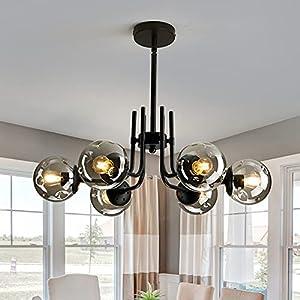 FGSADI 6-Lights Glass Globe Chandelier,Modern Metal Ceiling Light Fixture, Black Semi Flush Mount Chandelier for Living Room Dining Room Bedroom Farmhouse Kitchen
