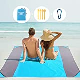 M2M Sand Proof Beach Blanket Water Proof. Sand Free Beach Mat. Sand Blanket fits 6 Adults. 80'x80' Extra Large Beach Blanket. Pocket Blanket w/Bag. Picnic Blanket for Travel, Hiking, and Camping