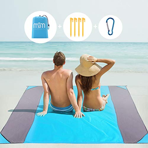 M2M Sand Proof Beach Blanket Water Proof. Sand Free Beach Mat. Sand Blanket fits 6 Adults. 80'x80' Extra Large Beach Blanket. Pocket Blanket w/Bag....