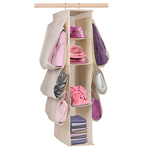 Moyeno Closet Organizers and Storage, Purse Organizer, Hanging Closet Organizer Storage Shelves, Large Space Handbag Organizer for Small to Medium Handbag Purse, Shoes, Clothes, Hats, Underwear, Socks