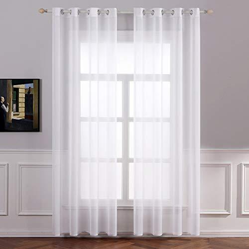 MIULEE 2er Set Sheer Voile Vorhang mit Ösen Transparente Gardine aus Voile Polyester Ösenschal Transparent Wohnzimmer Luftig Dekoschal für Schlafzimmer 140 X 215 cm (B x H) Weiß