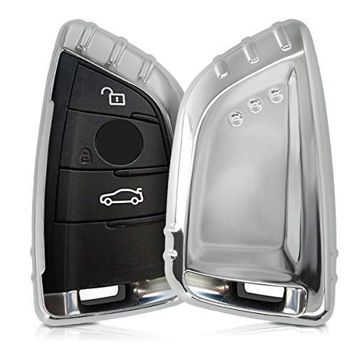 kwmobile Autoschlüssel Hülle kompatibel mit BMW 3-Tasten Smart Key Autoschlüssel - TPU Schutzhülle Schlüsselhülle Cover in Hochglanz Silber