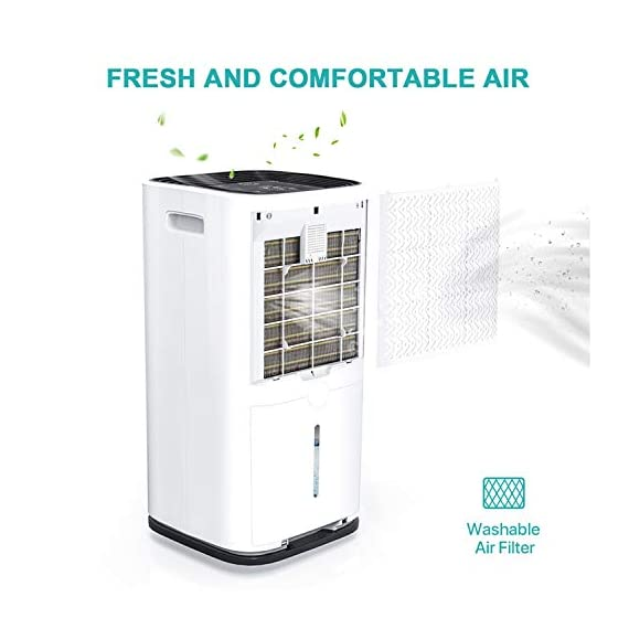 Kesnos 70 pint dehumidifiers for spaces up to 4500 sq ft at home and basements pd253d,white 5 kesnos dehumidifier for spaces up to 4500 sq ft - our dehumidifier removes up to 70 pint (50 pint new doe 2019) of moisture per 24 hours, fit for medium to large rooms in areas up to 4, 500 sq. Ft. And is able to adjust humidity from 30% to 85%, you can maintain a healthy 45%-55% humidity range easily! A dehumidifier perfect for home, basements, office, bathroom, bedroom, kitchen, stockroom, living room, laundry room, cellars, crawlspace by removing humidity. Unique design for the modern home - the kesnos dehumidifiers designed with sleek and modern look. With 360° easy-roll hidden wheels and ergonomically recessed handles, you can move around this dehumidifier easily. It is quiet operation that won't disturb you when you sleep or at work and adjustable fan speeds for multiple choices. With dry clothes function, you simply place the dehumidifier in a room where you can hang the wet clothes and let it dry clothes naturally. Easy to use dehumidifiers - simply adjust to your ideal moisture setting, then let it run its continuous 24-hour cycle until the tank is full, at which point it will automatically shut-off. 2 drainage options for your draining choices: auto drain: the with included 6. 56 feet drain hose for continuously auto-drain your dehumidifier without emptying the water bucket. Manual drain: the 1. 18 gallons water tank and bucket full indicator lets you know when the water bucket needs to be emptied.