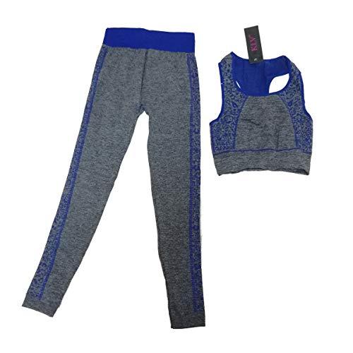 Cisne 2013, S.L. Set di abbigliamento sportivo da donna, abbigliamento per yoga, palestra, corsa, top e leggings aderenti, taglia unica (S-L) colore blu
