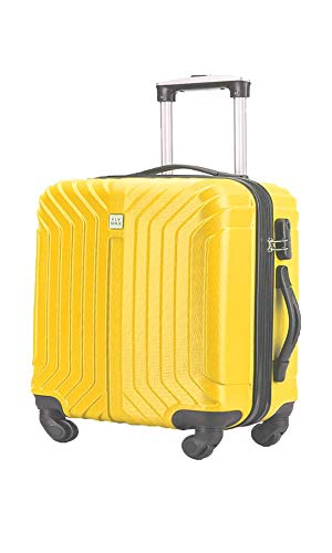 Flymax Cabin Luggage 4 Wheel Suitcase Lightweight Carry on 55x40x20 Approved for Ryanair Easyjet British Airways Yellow