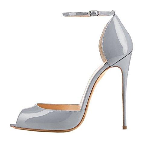 EDEFS Damenschuhe High Heels Pumps Peep Toe Stiletto Absatz Lackleder Sandalen Grau Größe EU38