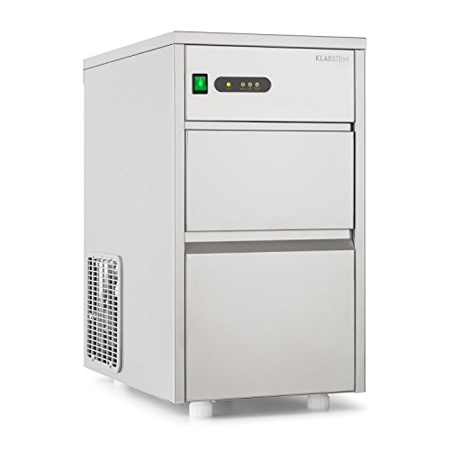Klarstein Powericer XL Profi-Eiswürfelmaschine - Eiswürfelbereiter, Ice Maker, Edelstahl, 145 Watt Leistung, 20 kg Produktionsvolumen pro Tag, 3,5 kg Lagerkapazität, LED, Warnanzeige, silber