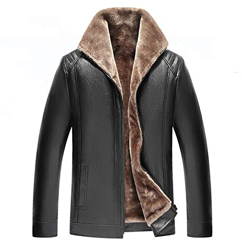 BEIXUNDIANZI Winter Herren Pelzkragen Herren Herbst Winter Bomberjacke mit Pelzkragen Retro Revers PU Lederjacke Military Warme Fleece-Innenseite Winterjacke Zipper Übergangsjacke C-Black 3XL