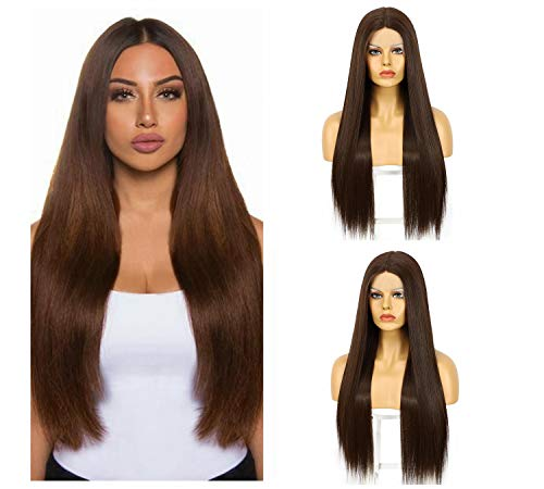 Synthetic Brown Lace Front Wigs with Deep Middle Part Long Straight Synthetic Wigs for Women Daily Use Japanese Heat Resistant Hair Replacement Wig 22 Inches 150% Density