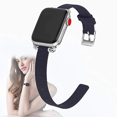 Correa Compatible con Apple Watch 40 mm 38 mm para Mujeres/Hombres, Correa de Repuesto Elegante de Nailon Ajustable para Apple Watch SE/iWatch Series 6 5 4 3 2 1,L,42mm / 44mm