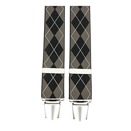 Tony & Paul. Bretelle. 4 clips carreaux, Viscose. Brun, carreaux. Fabriqué en Italie.