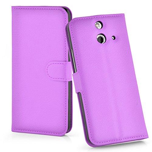 Cadorabo Hülle für HTC ONE E8 - Hülle in Mangan VIOLETT – Handyhülle mit Kartenfach & Standfunktion - Case Cover Schutzhülle Etui Tasche Book Klapp Style