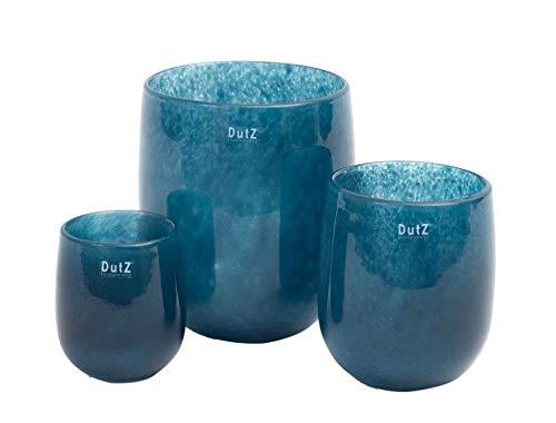 Dutz Collection | Barrel Deko Glas Vase Navy Blau H 24 cm D 18 cm Blumenvase Windlicht Maritim Mediterran | Mundgeblasen | Tischdeko Frühling Sommer